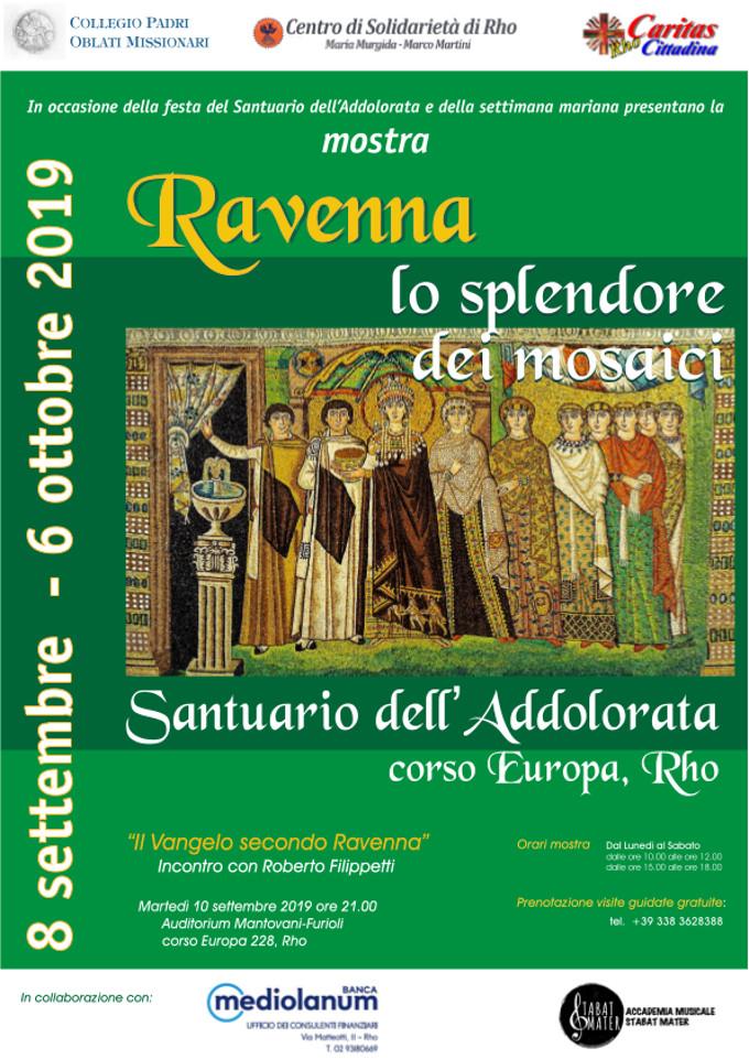 Locandina della mostra sui mosaici di Ravenna allestita nel Santuario di Rho