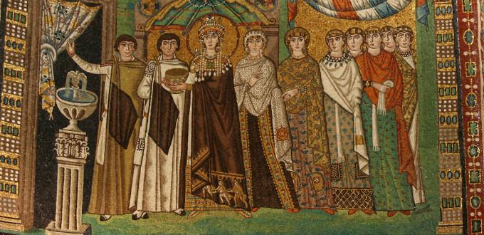 Teodora e la sua corte - Mosaico della basilica di San Vitale a Ravenna